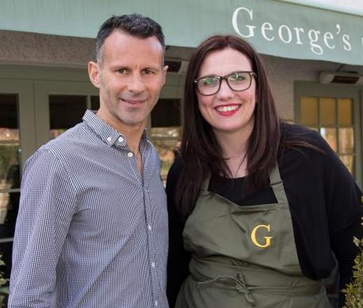 Ryan Giggs at his restaurant with Horwich chef and The Taste winner Debbie Halls
