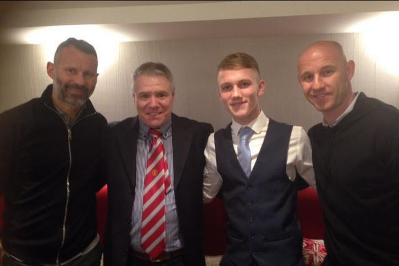 Ethan Galbraith pictured with Ryan Giggs, Nicky Butt & United scout Tony Coulter