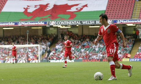 Ryan Giggs wins one of his 64 Wales caps in 2008. Photograph: Ian Smith/PA