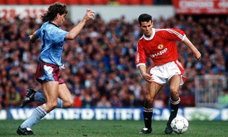 Ryan Giggs in action for Manchester United in his debut season, 1990-91.